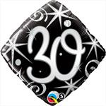 Elegant 30th Birthday Balloon, Black and Silver