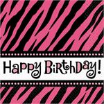 Zebra Theme Birthday Napkin, Hot Pink and Black