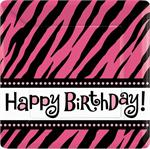 Zebra Happy Birthday Cake Plates, Hot Pink and Black