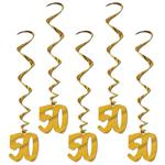 Gold Number 50 Danglers