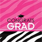 Pink and Black Graduation Party Napkins