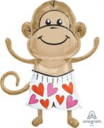 Large Monkey Balloon wearing heart design boxers