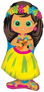 Hula Girl Balloon in Grass Skirt
