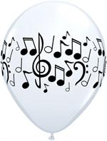 Music Note Balloons, White with Black Print