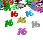 Number 16 Confetti Multi Color Metallic