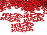 Red Hugs and Kisses Metallic Confetti Words Bulk or Packet