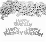 Silver Metallic Happy Birthday Confetti Shiny