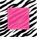 Zebra Party Dinner Plates, Fuchsia and Black Zebra Print
