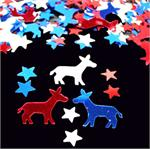 Democratic Party Confetti, Red, White and Blue Donkeys and Stars
