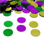 Gold, purple, green round confetti
