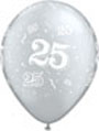 11' Silver Latex Balllonn, Covered with graphic number 25 and confetti in white
