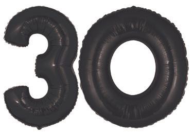 Large Black 30th Birthday Balloon Number 30 Balloons 40