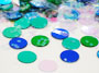 "Round Confetti, Blue, Green and Iridescent 1/4"" Available by the Packet or Pound"