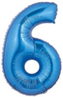 Number 6 Blue Mylar Balloon