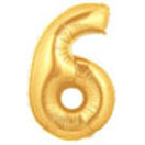 Gold Number 6 Mylar Balloon