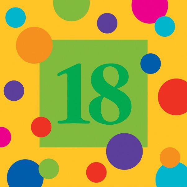 18th Birthday Napkins Medium 18th Birthday Napkins Polka