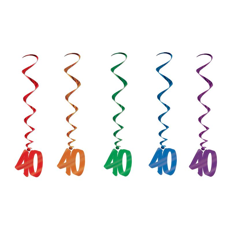 Bright 40th Birthday Danglers | Number 40 Decorations Set of 5