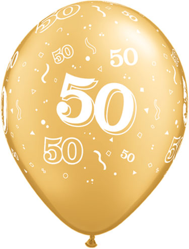 Gold 50th Latex Balloons Biodegradeable