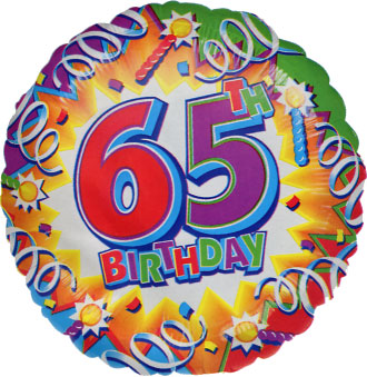 Large Gold Number 65 Balloon Set 65th Birthday