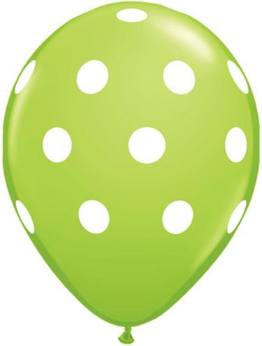 Lime Green Polka Dot Balloons 50 Count Qualatex Balloons