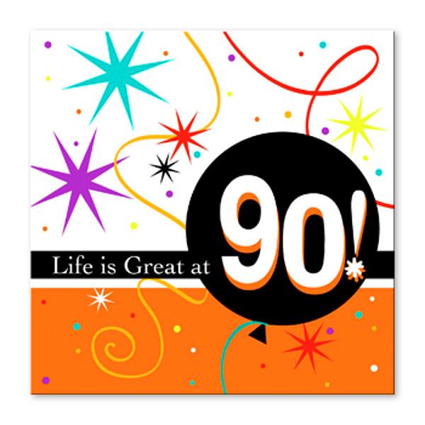 90th Birthday Napkins Beverage Size
