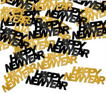 black and gold happy new year confetti