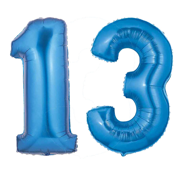Blue Number 13 Balloon Large Number 13 Balloon Blue