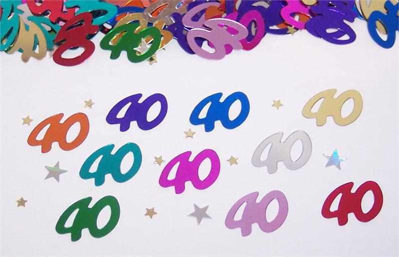 40th Birthday Confetti, Number 40 Confetti and Star Confetti
