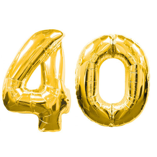 Large Gold Number 40 Balloons 40 Gold 40th Birthday