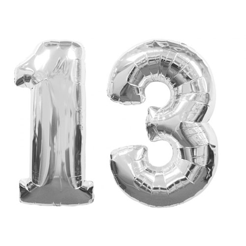 Silver Number 13 Balloon