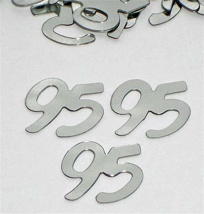 Silver Number 95 Confetti  Metallic Silver 95 Confetti
