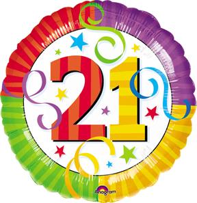 21st Birthday Balloons Number 21 Mylar Balloon