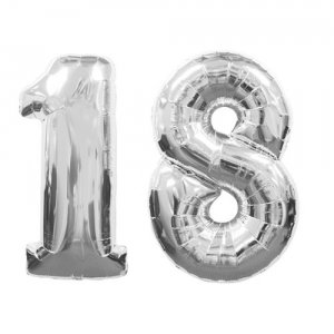 Large Silver Number 18 Balloon