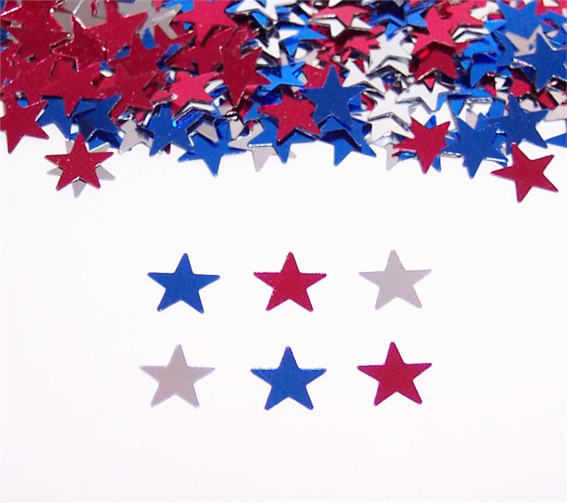 """1/8 """"Star Confetti, Tiny 1/8"""" Red, White And Blue Star"""