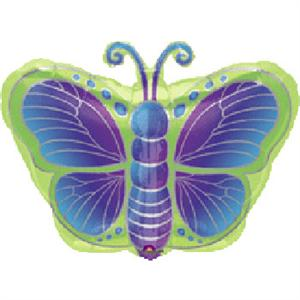 Butterfly Mylar Balloon, Blue, Green and Purple