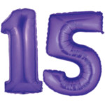 Purple Number 15 Balloons, 40""