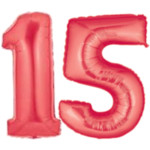 Red Number 15 Balloons, 40""