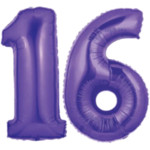 Purple Number 16 Balloons, 40""