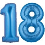 Blue Number 18 Balloons, 40""