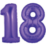 Purple Number 18 Balloons, 40""