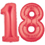 Big Red Number 18 Balloons, 40""