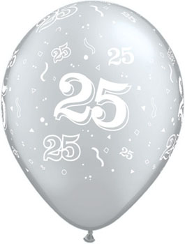25th Anniversary Balloon, Silver Biodegradeable Balloon with 25 Design