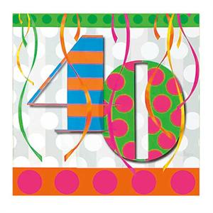 40th Birthday Napkin, Bright Bold Colors