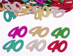 Number 40 Party Confetti metallic