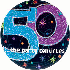 50th Birthday Cake Plates Teal, Black and Purple