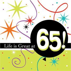 65th Birthday Napkins 65th Birthday Party Napkins