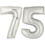 Silver Number 75 Balloons, 40""