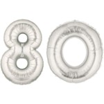 Silver Number 80 Balloon, 40""