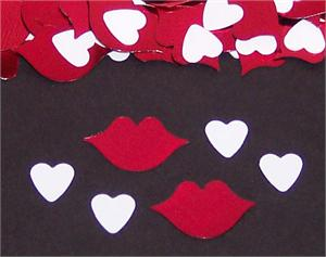White Hearts and Red Kisses Confetti