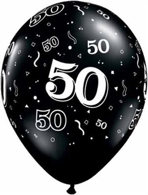 50th Birthday Balloon Black And White Biodegradeable Has 50 All Around